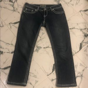 "Cropped jeans 24"" inseam. White stitching"